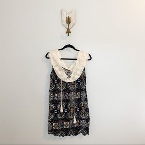 NWT Umgee Navy Blue With Pattern Dress Size M